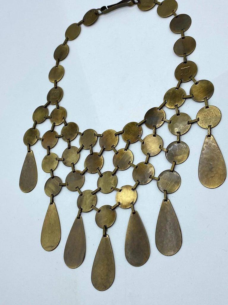 Women's Celine, Paris Patinated Bronze Disk Bib Necklace For Sale