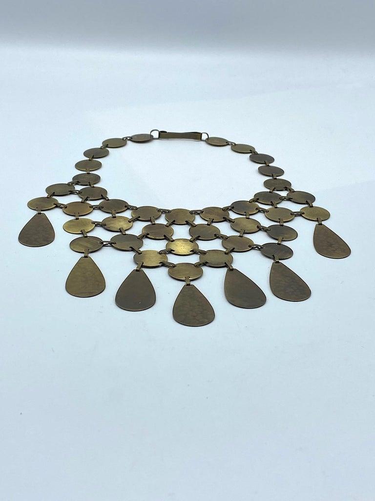Celine, Paris Patinated Bronze Disk Bib Necklace For Sale 1