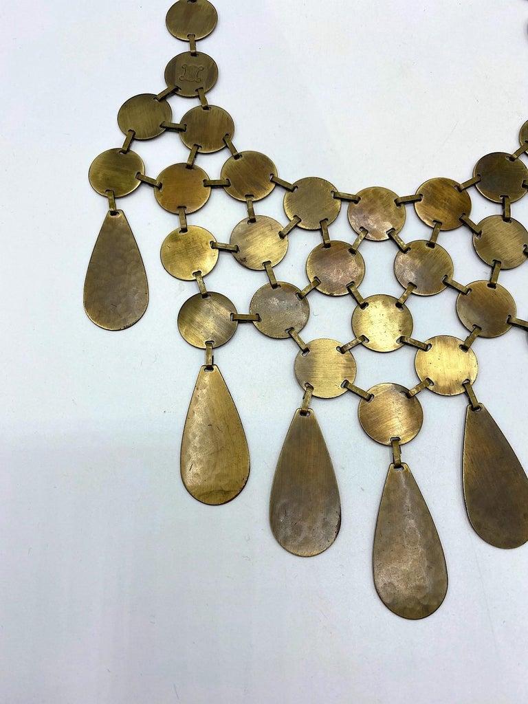 Celine, Paris Patinated Bronze Disk Bib Necklace For Sale 2