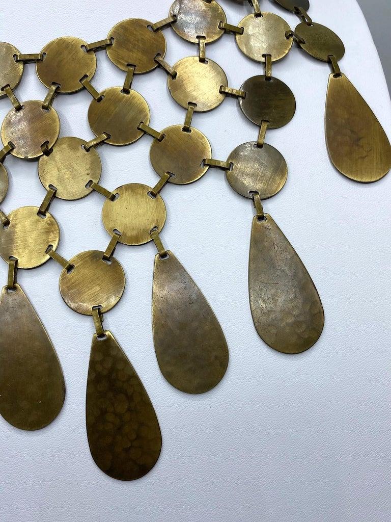 Celine, Paris Patinated Bronze Disk Bib Necklace For Sale 3