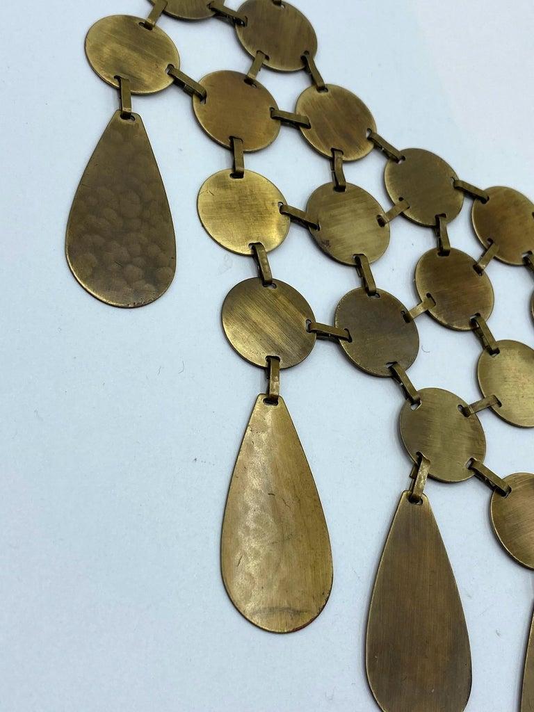 Celine, Paris Patinated Bronze Disk Bib Necklace For Sale 4