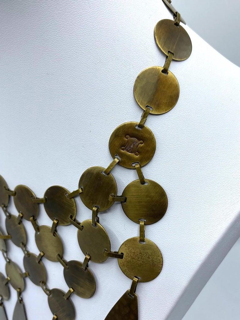 Celine, Paris Patinated Bronze Disk Bib Necklace For Sale 5