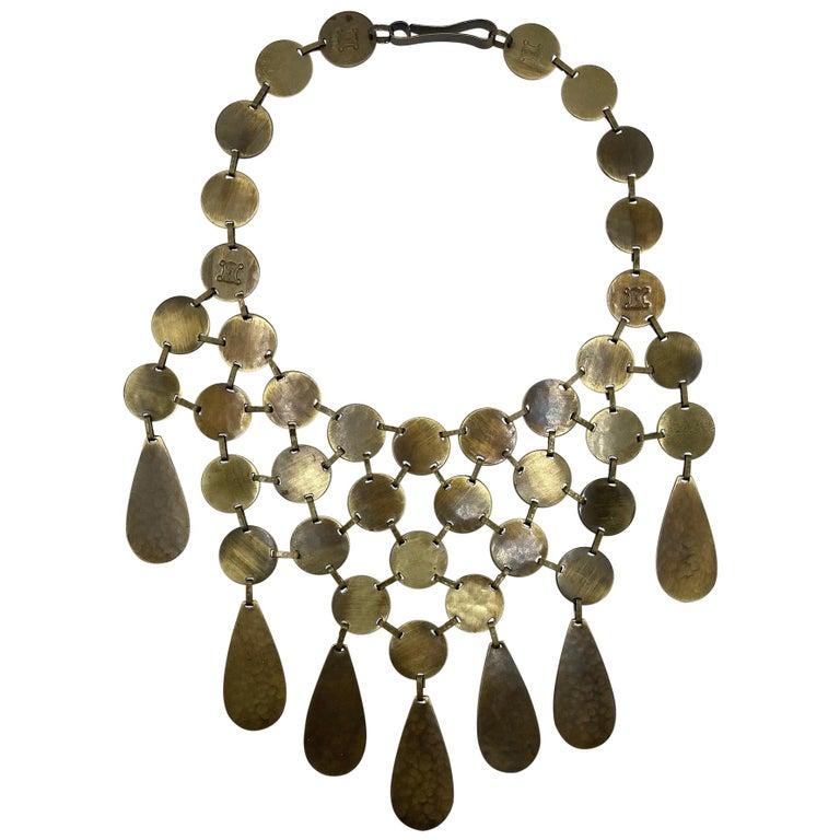 Celine, Paris Patinated Bronze Disk Bib Necklace For Sale