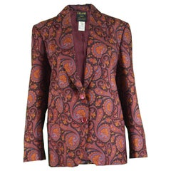 Celine Paris Vintage 1980s Pure Silk Paisley Boxy Black Blue & Red Blazer Jacket