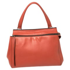 Celine Pastel Red Leather Medium Edge Top Handle Bag