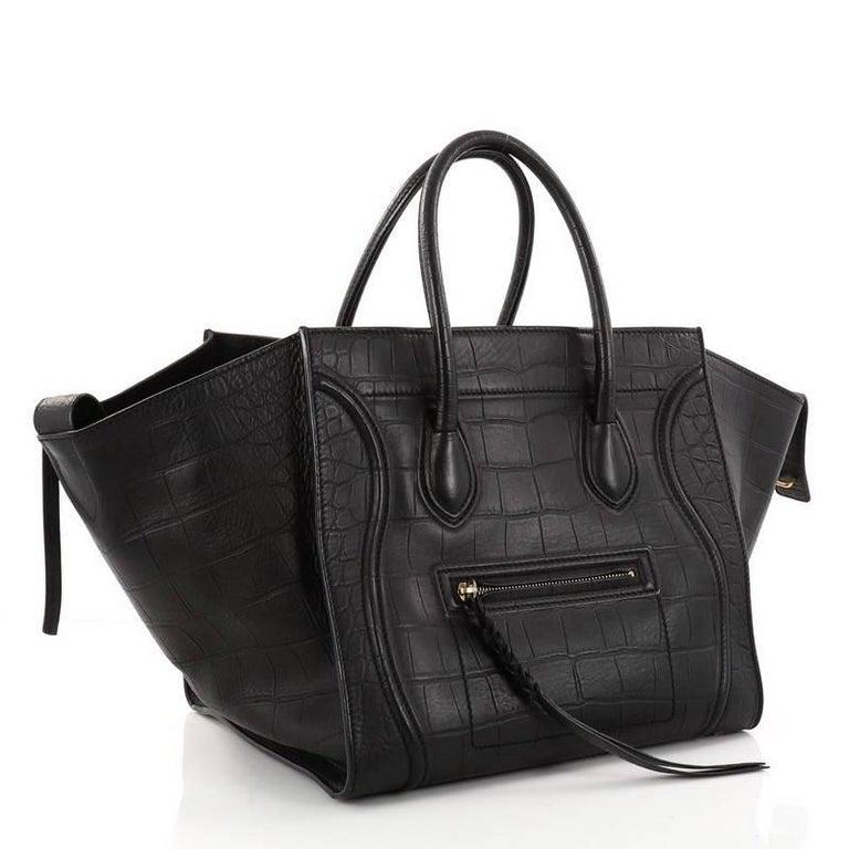 Celine Phantom Handbag Crocodile Embossed Leather Medium at 1stdibs 77e70b5ad021c