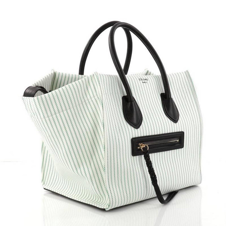 dd2adc663c6b Celine Phantom Handbag Striped Canvas and Leather Medium at 1stdibs