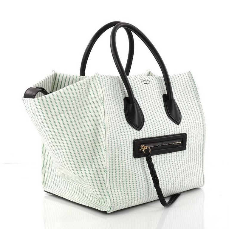 Gray Celine Phantom Handbag Striped Canvas and Leather Medium For Sale d48aa80db5f33