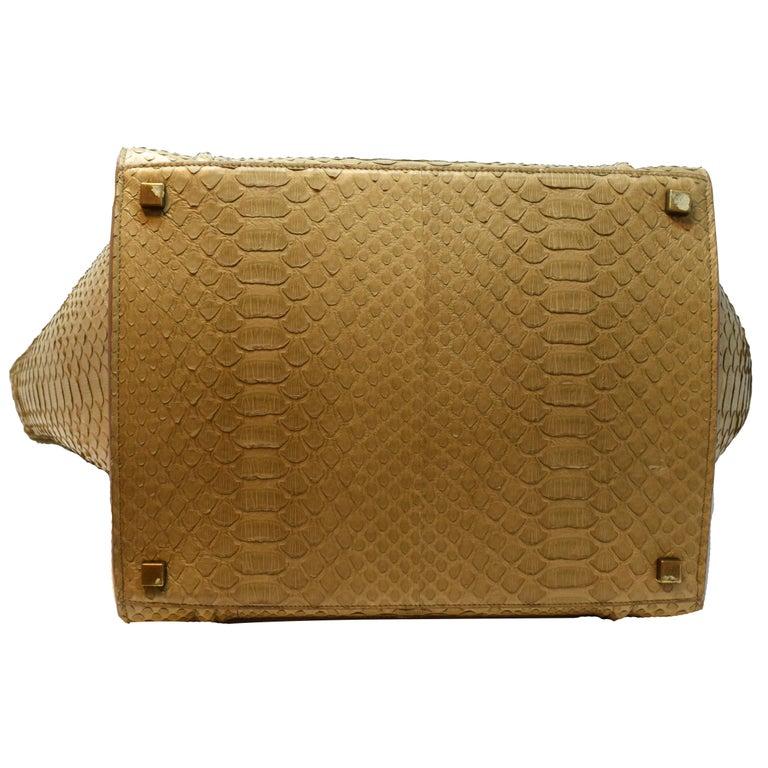 Women's or Men's Cèline Phantom Luggage Python Snakeskin Beige Sand Color Large Purse For Sale