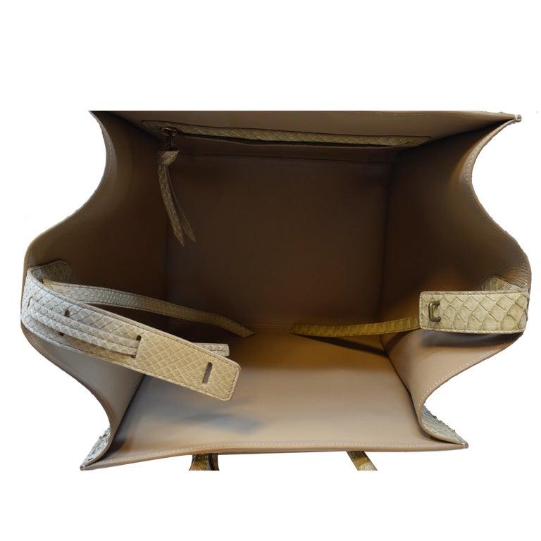 Cèline Phantom Luggage Python Snakeskin Beige Sand Color Large Purse For Sale 1