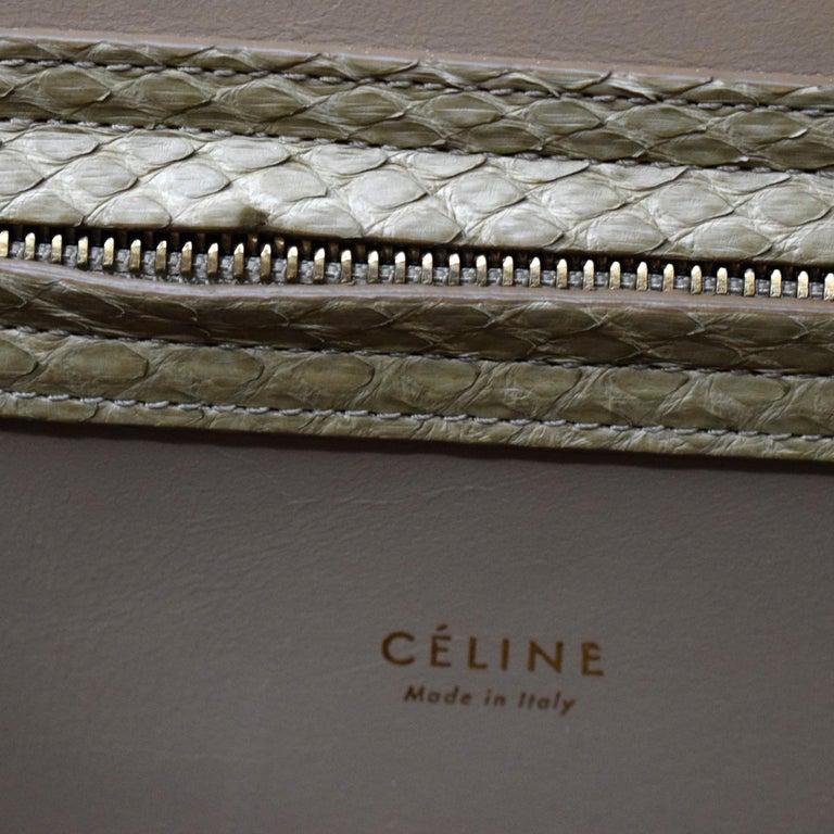Cèline Phantom Luggage Python Snakeskin Beige Sand Color Large Purse For Sale 2