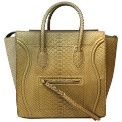 Cèline Phantom Luggage Python Snakeskin Beige Sand Color Large Purse