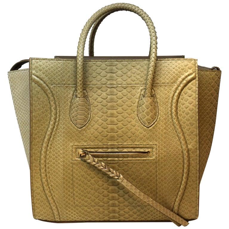 Cèline Phantom Luggage Python Snakeskin Beige Sand Color Large Purse For Sale