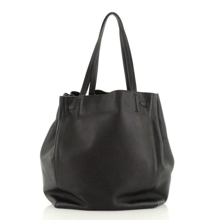 Black  Celine  Phantom Tie Cabas Tote Leather Medium For Sale