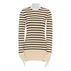 CELINE PHILO beige black nautical stripe side slit ribbed stretch sweater top S