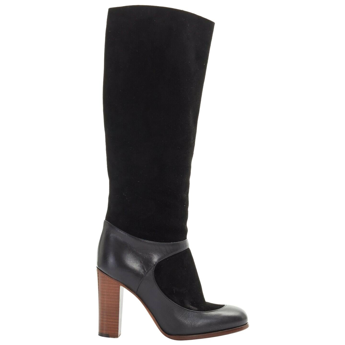 CELINE PHILO black suede sock ankle strap chunky wooden heel tall boot EU35.5