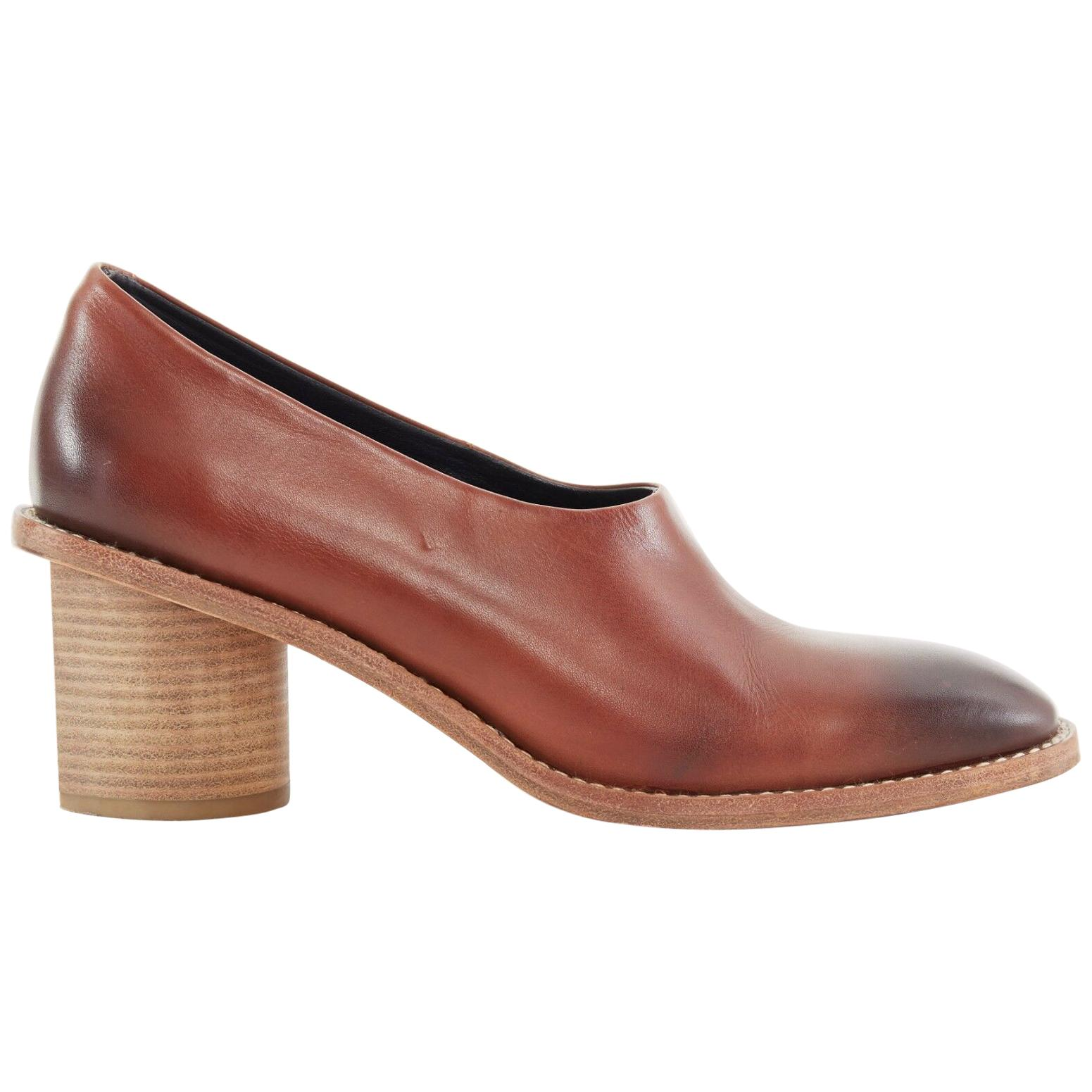 CELINE PHILO brown gradient leather angular stacked wooden block heel shoe EU39