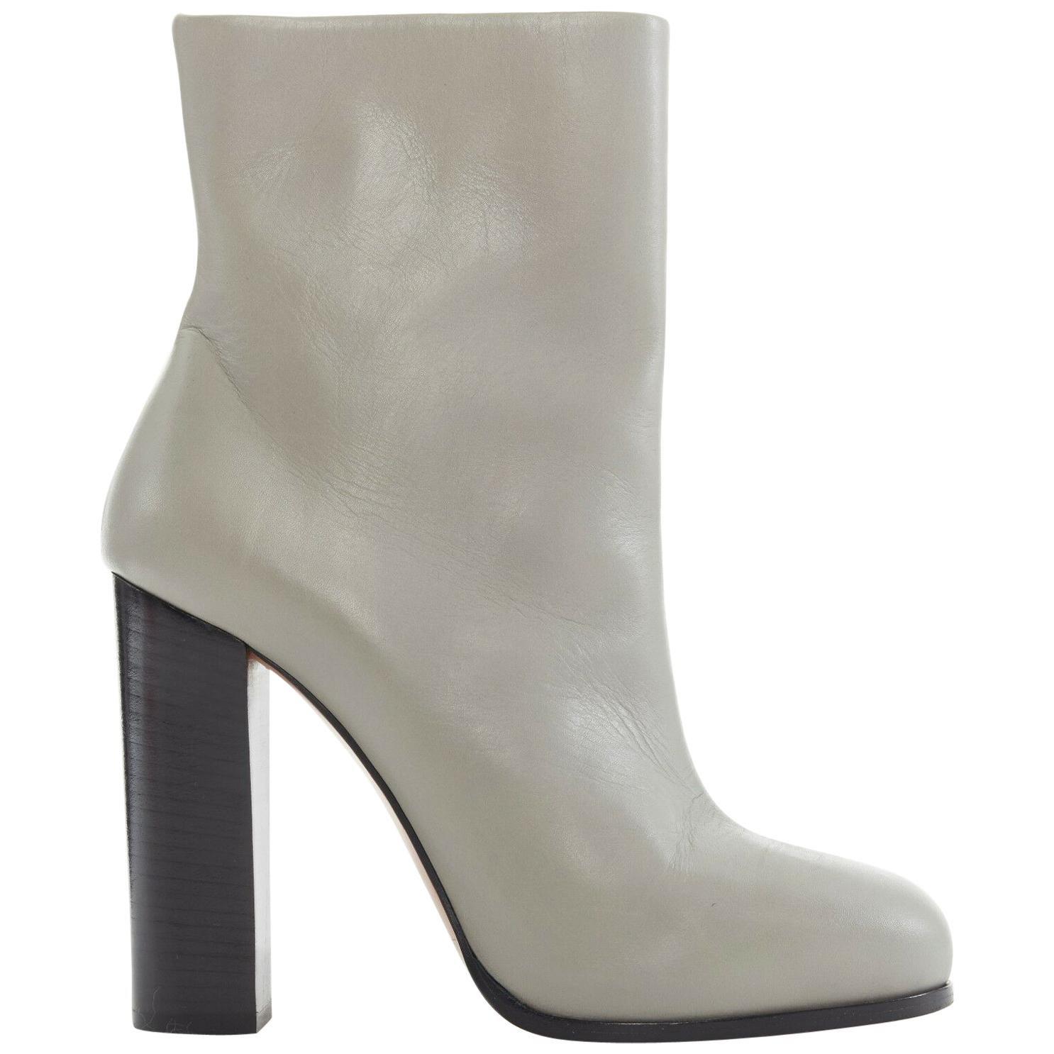 CELINE PHILO light grey leather round toe black block heel ankle boot EU38 US8