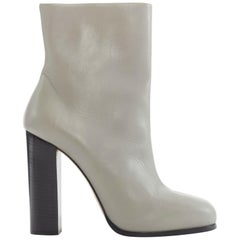 CELINE PHILO light grey leather round toe black block heel ankle boot EU38 US8