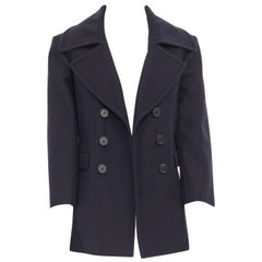 CELINE PHILO navy blue 100% wool wide collar double breasted coat jacket FR36 S