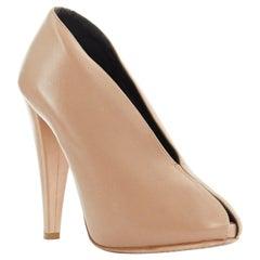 CELINE PHILO nude soft leather V-neck slit peeptoe chunky high heel EU37 US7 UK4