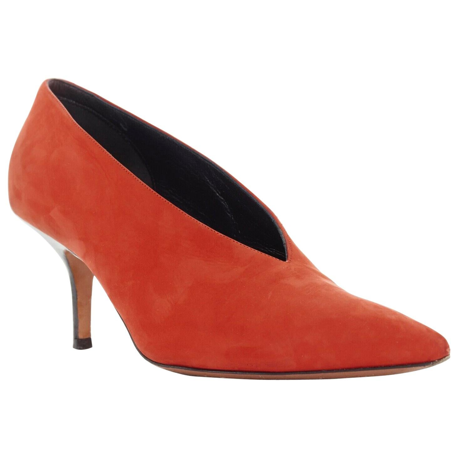 CELINE PHILO red suede V-neck pointed toe black slim heel pumps EU38