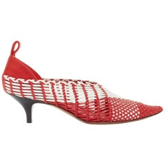 CELINE PHILO red white checkered woven leather pointy kitten hee pumpl EU38