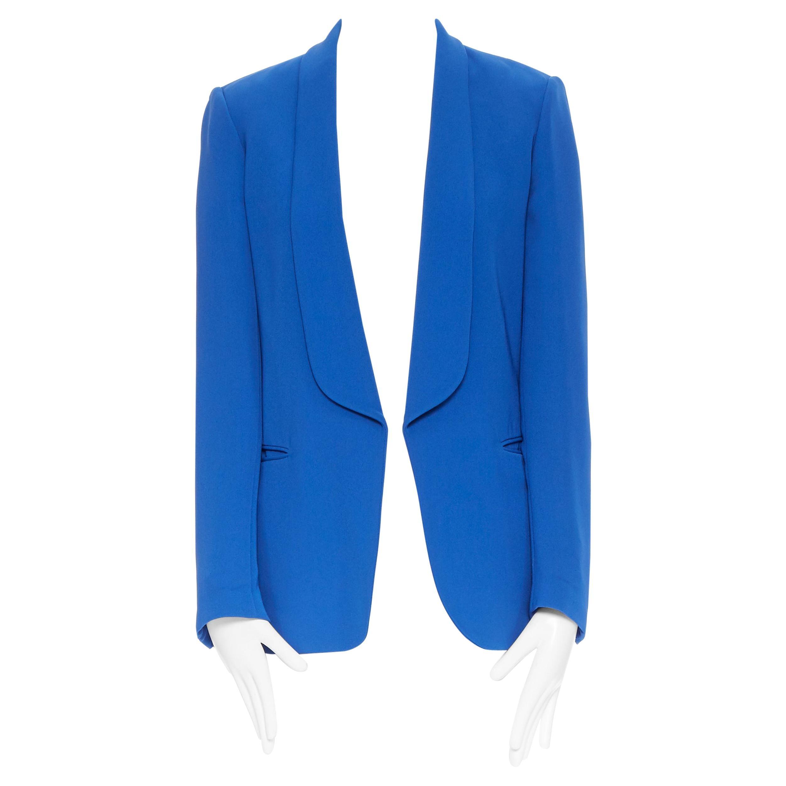 CELINE PHOEBE PHILO 100% silk cobalt blut shawl collar blazer jacket FR36 S