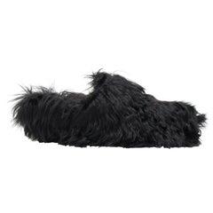 CELINE PHOEBE PHILO black alpaca long fur slip on mule clog slippers EU37