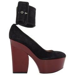 CELINE PHOEBE PHILO black suede red platform wedge wide ankle cuff heels EU38.5