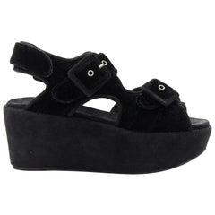 CELINE PHOEBE PHILO black velvet sportive buckle strap flatform sandals EU37