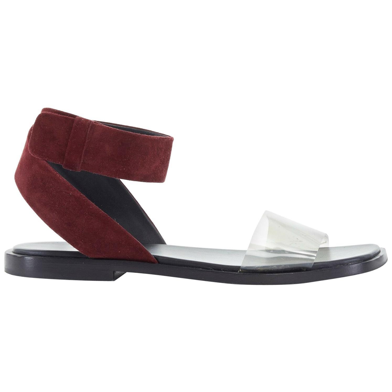 CELINE PHOEBE PHILO burgundy suede leather clear PVC flat sandals EU36 US6 UK3