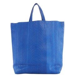 CELINE PHOEBE PHILO Cabas cobalt blue python leather verticle tote shopper bag