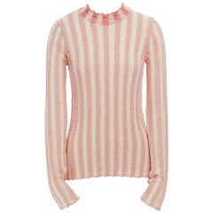 CELINE PHOEBE PHILO cotton blend red beige stripe ribbed knit sweater top M