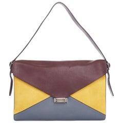 CELINE PHOEBE PHILO Diamond burgundy yellow leather shoulder clutch bag