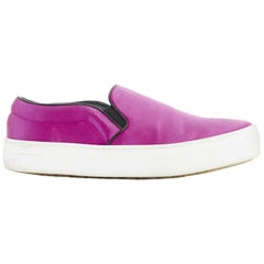 CELINE PHOEBE PHILO fuschia pink silk satin slip on skate sneakers shoes EU35.5