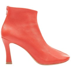 CELINE PHOEBE PHILO Glove 90 Fox Red soft leather square toe stretch bootie EU37