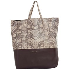 CELINE PHOEBE PHILO grey python maroon red leather bi-color cabas tote bag