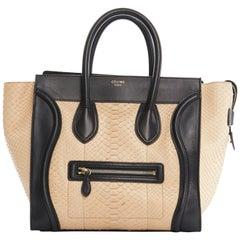 CELINE PHOEBE PHILO Luggage Tote Small beige python black leather trim bag
