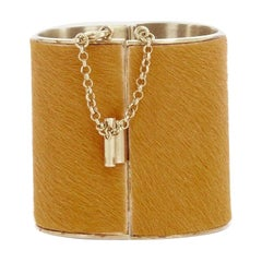 CELINE PHOEBE PHILO Manchette Edge orange pony hair gold metal cuff bangle S