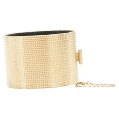 CELINE PHOEBE PHILO Manchette gold-tone grid textured bracelet cuff bangle