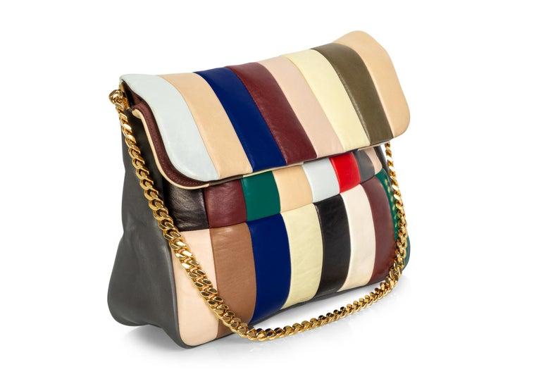 Women's Celine Phoebe Philo Multi Gourmette Patchwork Gold Chain Strap Shoulder Bag,2012 For Sale