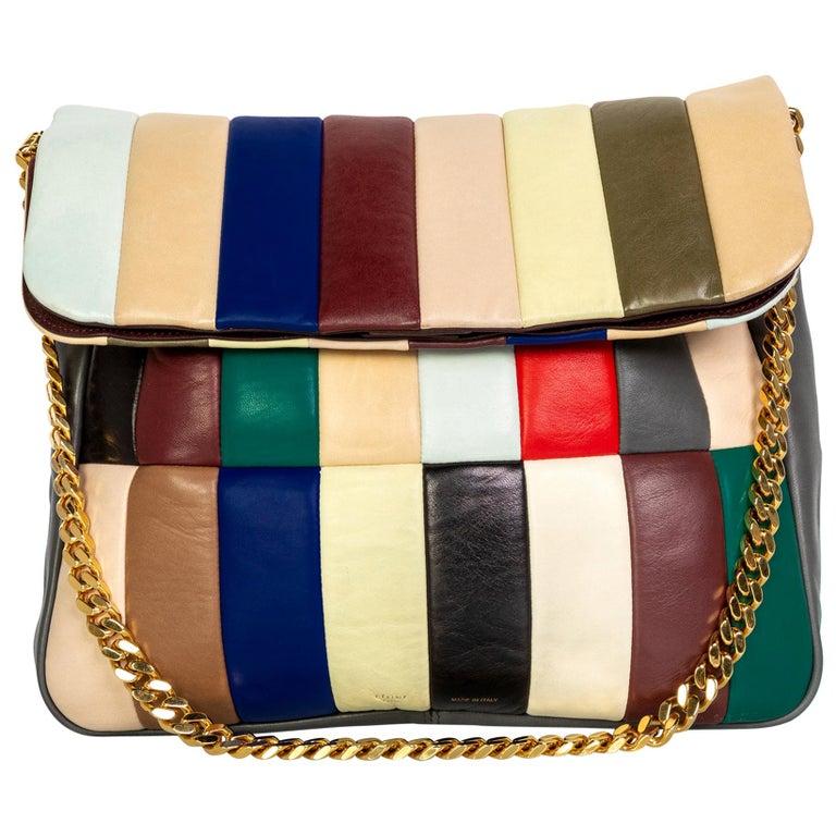 Celine Phoebe Philo Multi Gourmette Patchwork Gold Chain Strap Shoulder Bag,2012 For Sale