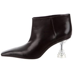 Celine Phoebe Philo NEW Black Leather Clear Acrylic Ankle Boots Booties in Box