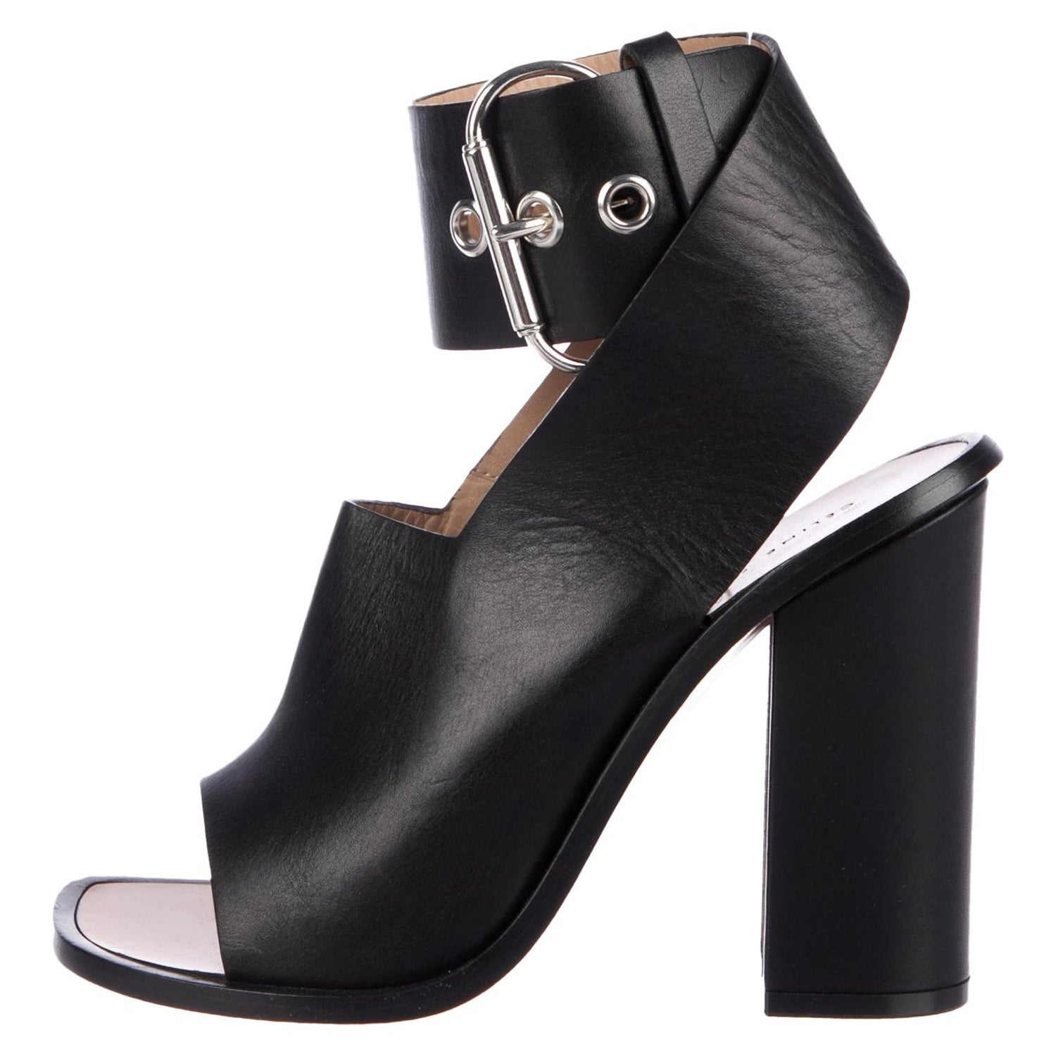 7e2f2c736 Celine Phoebe Philo NEW Black Leather Silver Ankle Buckle Sandals Chunky  Heels at 1stdibs