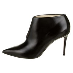 Celine Phoebe Philo NEW Black Leather Slit Pointy Ankle Boots Booties Shoes