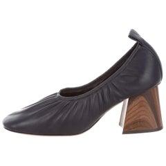 a52579427 Celine Phoebe Philo NEW Dark Blue Leather Wood Ruche Block Soft Pumps Heels