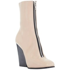 CELINE PHOEBE PHILO nude beige leather zip front square toe wedge boot shoe EU36