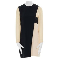 CELINE PHOEBE PHILO nude black asymmetric layered silk sleeve shift dress FR38