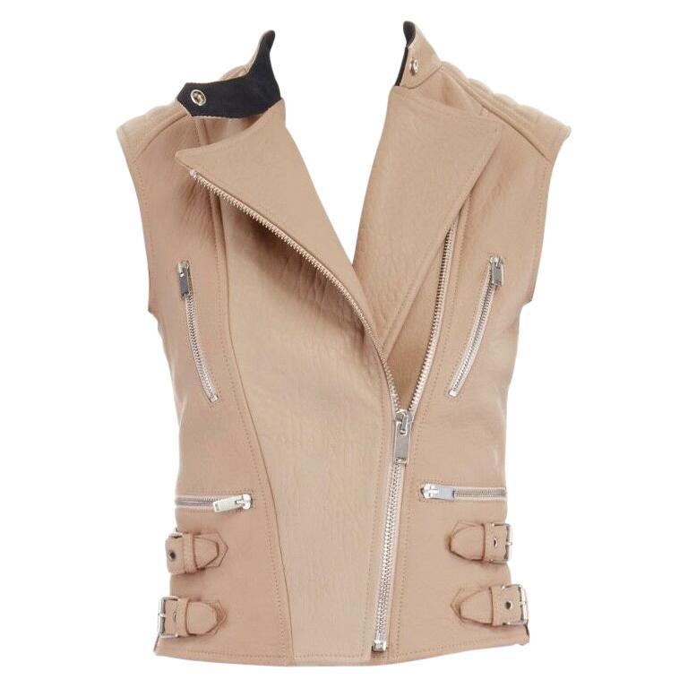 CELINE PHOEBE PHILO nude pebble leather silver hardware biker vest FR36 US2 XS